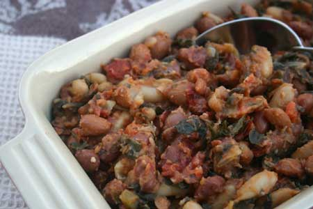 Baked Beans with Swiss Chard and Kale