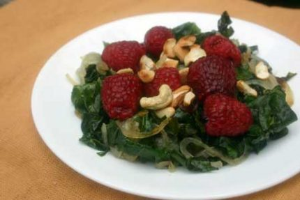 Steamed Kale with Raspberries and Cashews