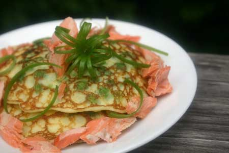 Pea Pancakes with Grilled Salmon