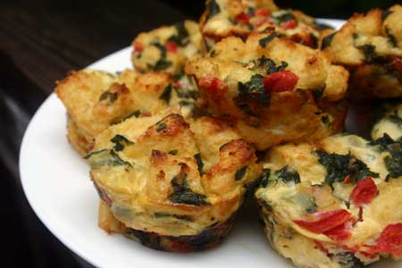 Breakfast Stuffin with roasted peppers, spinach and gruyere