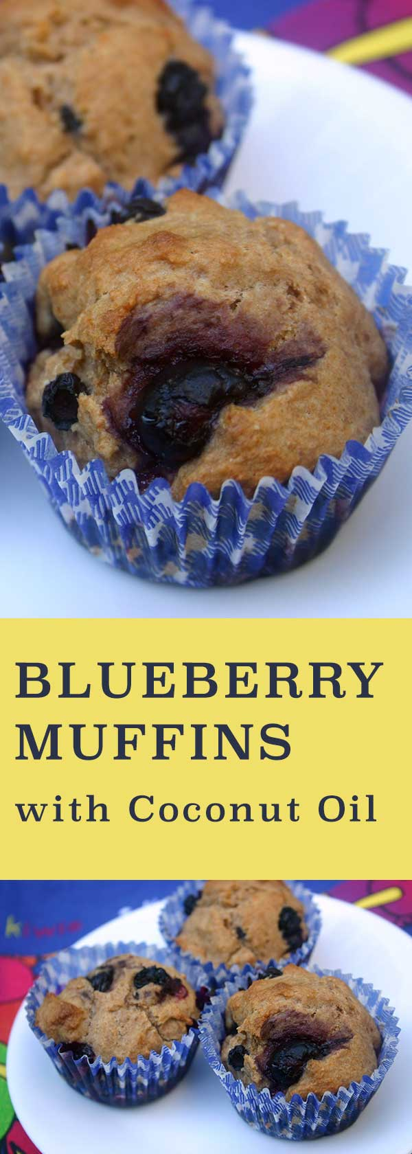 Whole Wheat Blueberry Muffins with Coconut Oil |diabeticfoodie.com