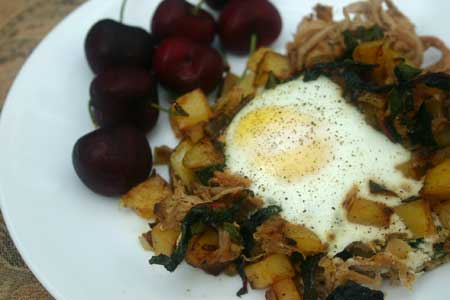Pulled Pork Hash with Swiss Chard