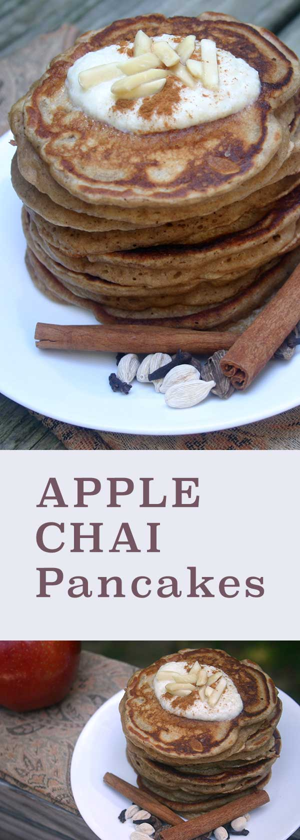 Apple Chai Pancakes with Creamy Yogurt Sauce | diabeticfoodie.com