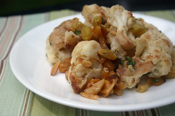 Caramelized Cauliflower with Almonds and Raisins