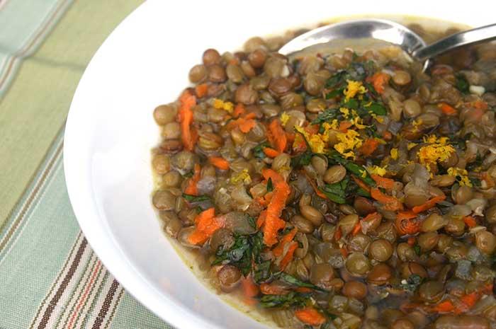 Lentil Swiss Chard Soup with Orange Zest