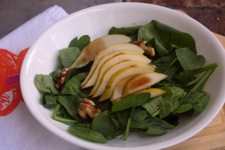 Spinach Pear Salad with Mustard Vinaigrette