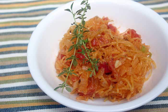 Baked Spaghetti Squash with Tomato Fondue - Diabetic Foodie
