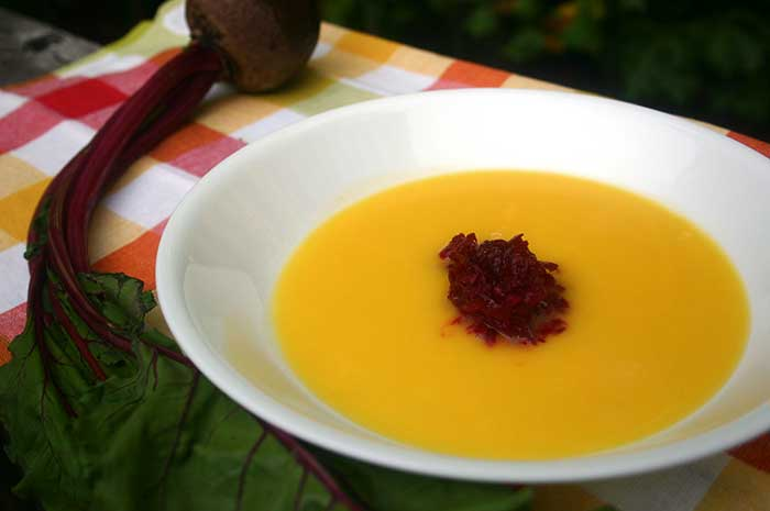 Cantaloupe Soup with Raw Beet Salad
