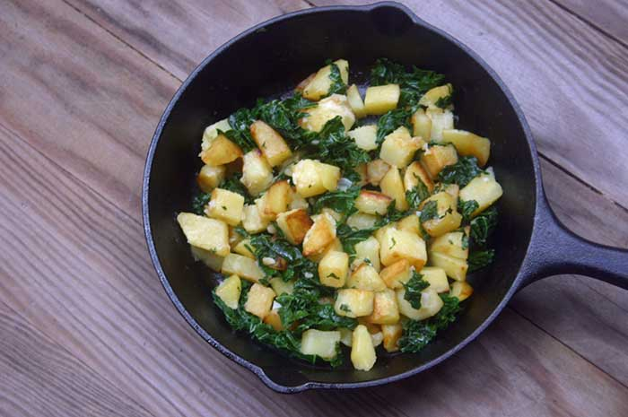 Garlic Home Fries with Kale