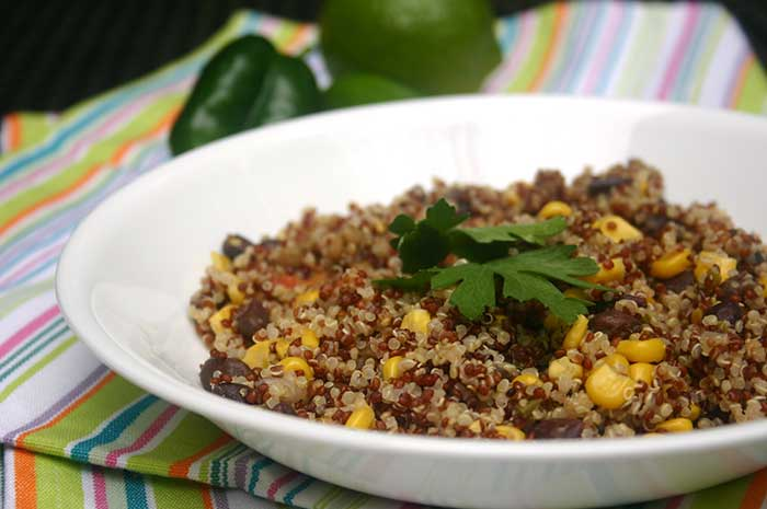 Quinoa Pilaf with Black Beans, Corn, and Jalapenos