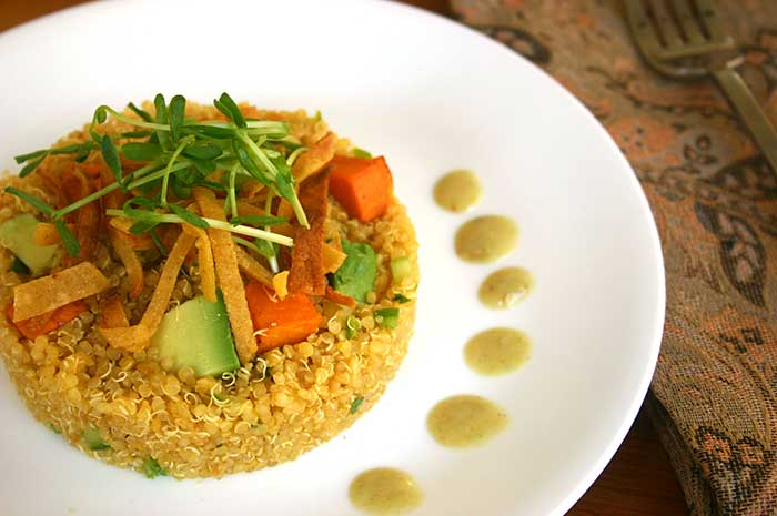 Quinoa Sweet Potato Avocado Timbale with Roasted Tomatillo Dressing