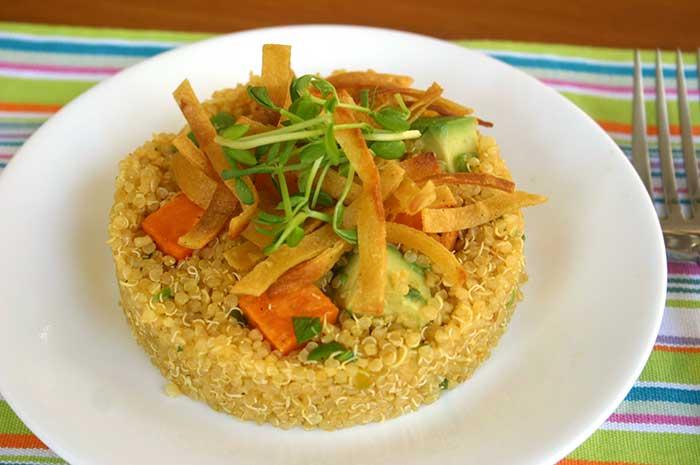 Quinoa Sweet Potato Avocado Timbale with Roasted Tomatillo Dressing