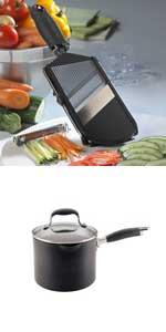 Microplane Adjustable Slicer and Anolon Advanced 3.5 qt straining saucepan