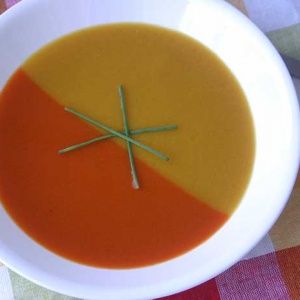 Roasted Red and Yellow Pepper Soup Duo