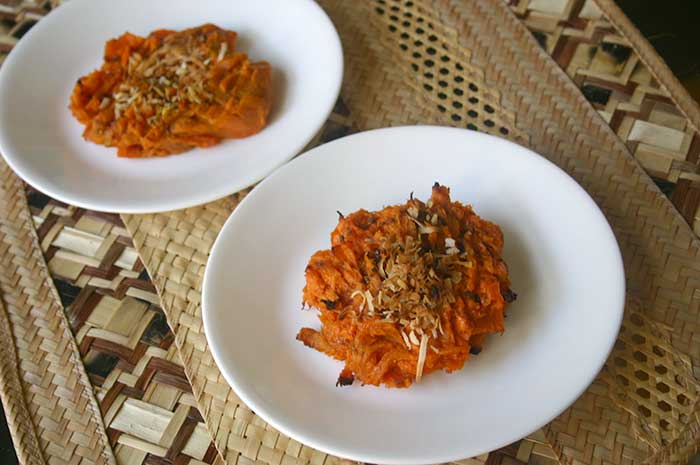 Smashed Sweet Potatoes with Coconut