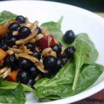 Spinach Salad with Macerated Blueberries and Nectarines