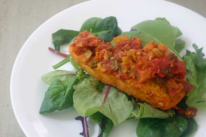 Salmon in Tomato, Thyme, and Ginger Sauce
