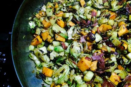 Sweet Potato, Brussels Sprouts and Apple Hash
