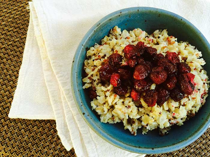 Roasted Cranberry Quinoa Oatmeal