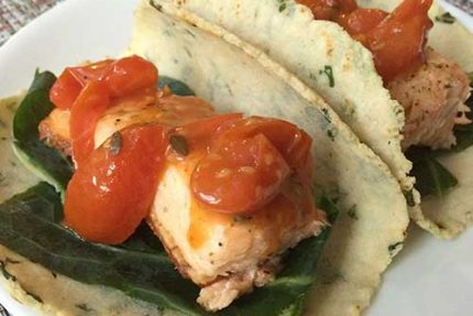 Salmon Tacos with Kale, Collards and Lemon-Tomato Vinaigrette