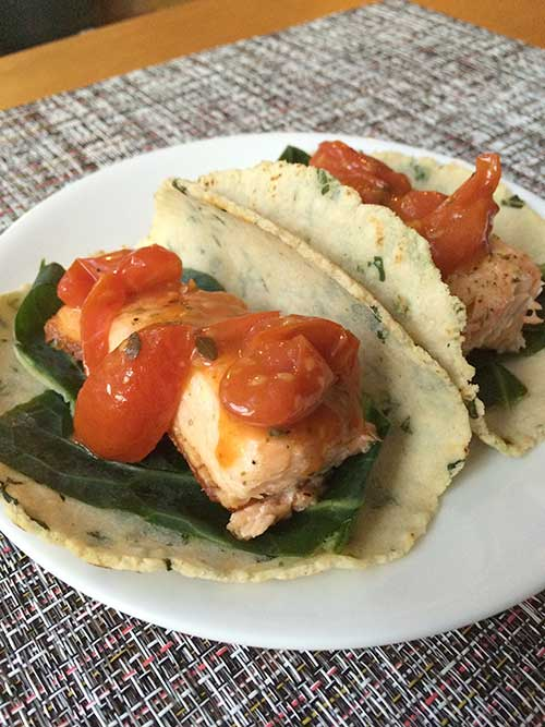 Salmon Tacos with Kale, Collards and Lemon-Tomato Vinaigrette