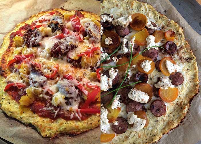 2 types of Cauliflower Pizza