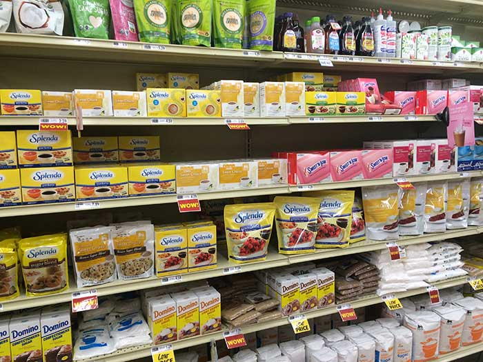 Sugar aisle in grocery store