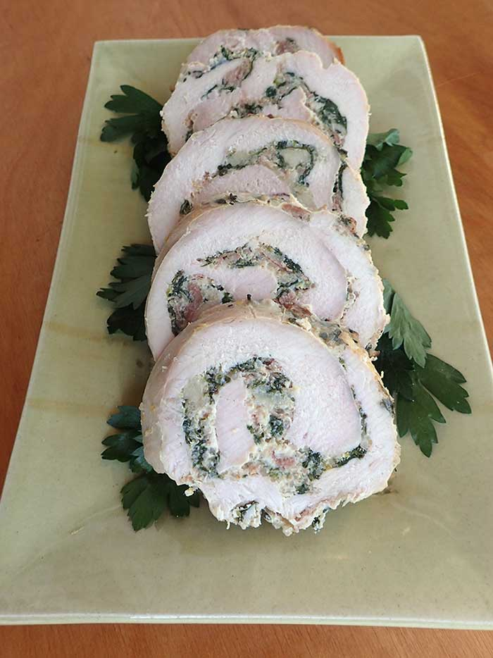 Turkey Roulade with Swiss Chard and Prosciutto