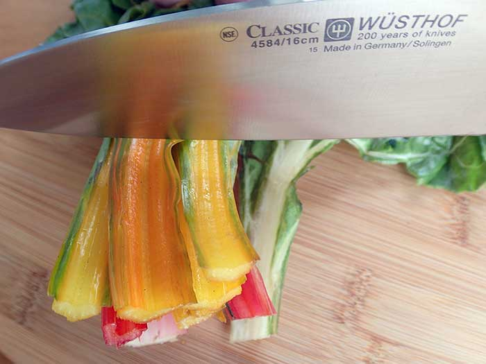 Chopping Swiss chard with Wusthof knife