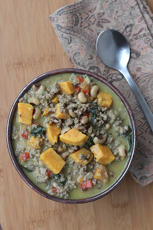 Calypso Soup with Black-eyed Peas and Spinach