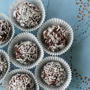 No-bake chocolate coconut date balls