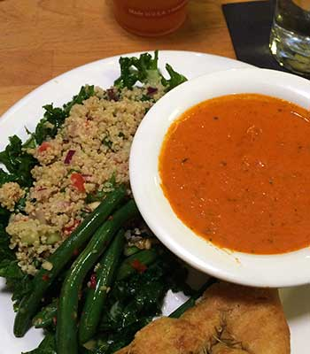Roasted Red Pepper Soup with Super Greens and Quinoa Salad