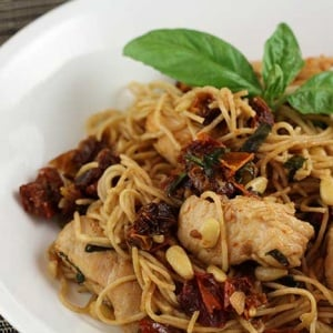 Angel Hair Pasta with Chicken, Sun-dried Tomatoes and Pine Nuts