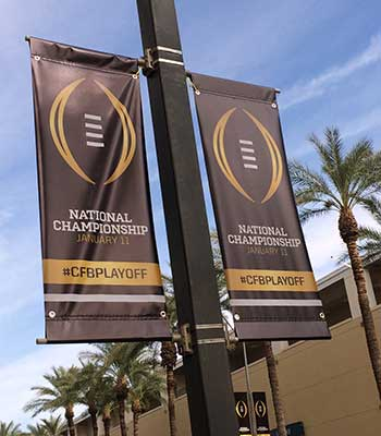 College Football National Championship banner in Phoenix