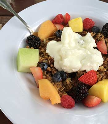 Yogurt with Homemade Granola & Fresh Fruit at The Farm at South Mountain