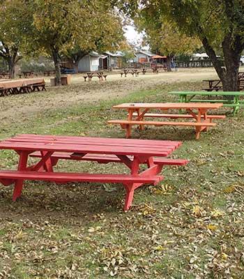 Picnic tables at The Farm at South Mountain
