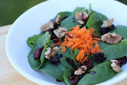 Spinach Salad with Dried Cranberries & Walnuts