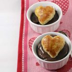 Chocolate Velvet Mousse with Puff Pastry Hearts for Valentine's Day