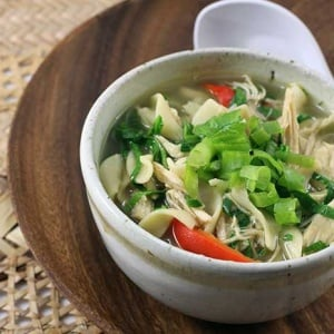 Asian Chicken Noodle and Spinach Soup