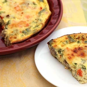 Crustless Quiche with Italian Turkey Sausage and Peppers
