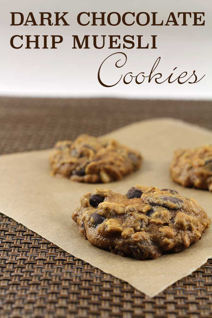 Dark Chocolate Chip Muesli Cookies - no butter, whole grains, seeds, and nuts