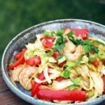 Shrimp & Cabbage Stir-fry in a bowl garnished with scallions