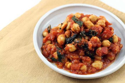 Stewed Chickpeas and Tomatoes with Kale