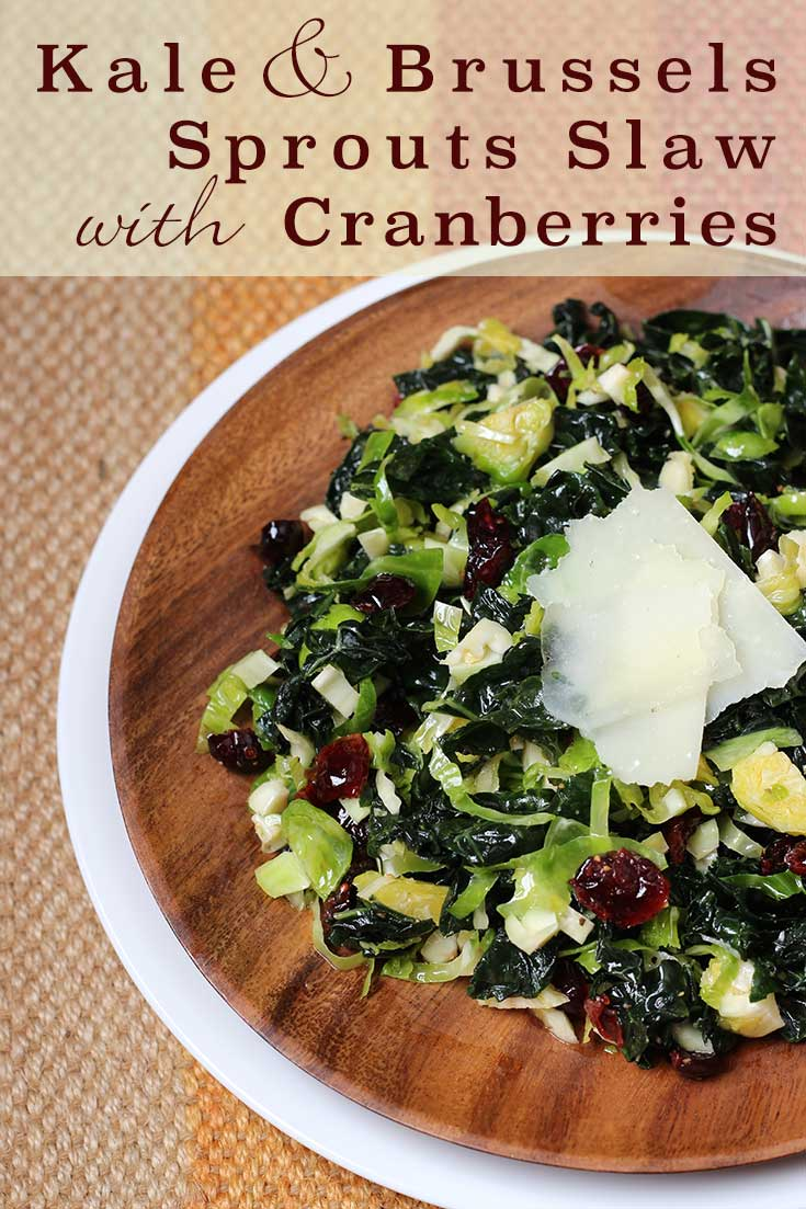 Kale and Brussels Sprouts Slaw with Cranberries