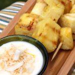 Grilled Pineapple Kebabs with Lemon Yogurt Sauce