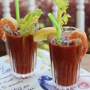 Virgin Bloody Mary with Shrimp | diabeticfoodie.com