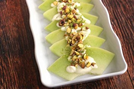 Honeydew Melon with Lime-Yogurt Sauce and Pistachios