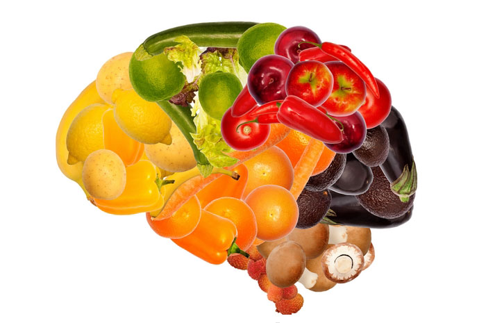 Brain made of fruits and vegetables