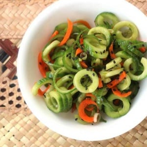 Asian Cucumber Salad in a white bowl as seen from above