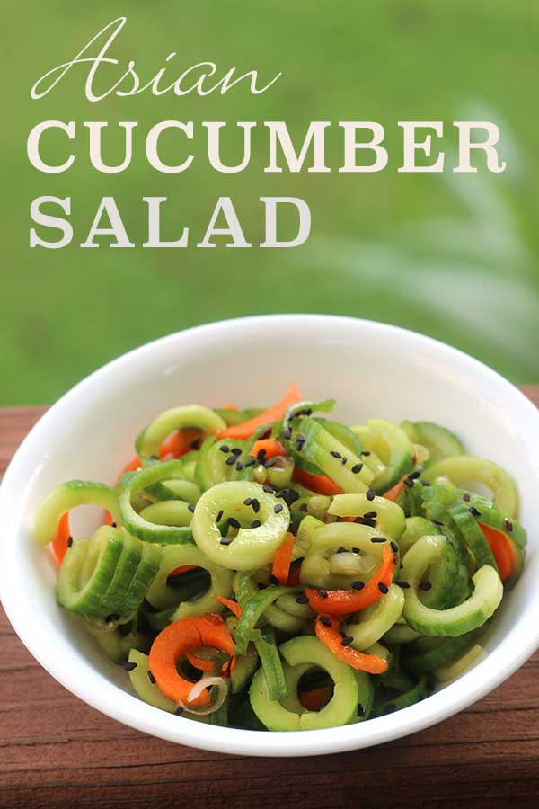Asian Cucumber Salad - spiralized cucumbers and carrots in Asian vinaigrette | diabeticfoodie.com